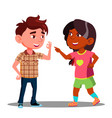 girl and boy makes fingers appointment vector image vector image