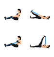 girl doing exercises with resistance bands vector image vector image