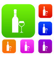 glass and bottle of wine set collection vector image