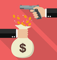 Hand holding a handgun for robbery vector image vector image