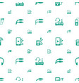 headphones icons pattern seamless white background vector image vector image