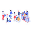 isometric supermarket purchases buyers in line vector image