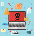 laptop with a skull on the screen in a flat style vector image