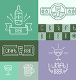 Linear craft beer and brewery style design vector image