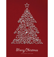 Merry christmas happy new year outline xmas tree vector image vector image