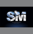 metal blue alphabet letter sm s m logo company vector image vector image