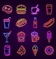 neon fast food glowing icon for cafe and bar vector image