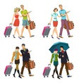 newlywed couple with suitcases vector image