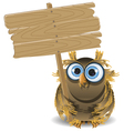 owl and a wooden plaque vector image vector image