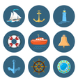 Sailboat Lighthouse and Ship Equipment vector image vector image
