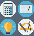 School Supplies Education Objects Icons Set vector image