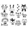 set cute handdrawn monochrome animals vector image vector image