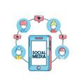 set social medio technology connection vector image