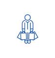 shopper man with bags line icon concept shopper vector image vector image