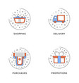 shopping delivery purchases promotion set 4 vector image
