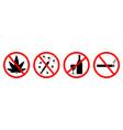 sign forbidden for alcohol smoke and drug