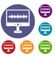 sound waves icons set vector image vector image