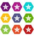 star icon set color hexahedron vector image
