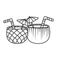 summer coconut nad pineapple cocktails in black vector image