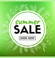 summer sale banner with floral wreath vector image vector image