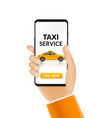 taxi service app design mobile phone order vector image vector image