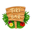 tiki bar wooden banner vector image