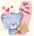 valentine card with cute cartoon kitten vector image vector image