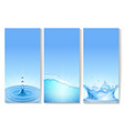 vetical transparent water wave banners vector image vector image