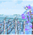 vineyard in winter season beautiful snow vector image