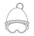 winter beanie hat and glasses black and white vector image vector image