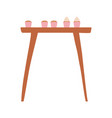 wooden table with cupcakes baked isolated icon vector image