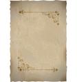 Old paper sheet with vintage frame vector image