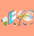 3d isometric flat concept mobile payroll vector image vector image