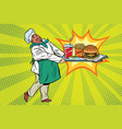 african chef brings a tray of fast food vector image vector image
