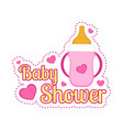 baby shower label with a baby bottle vector image vector image