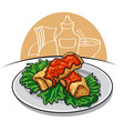 baked pancakes with sauce vector image vector image