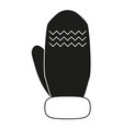 black and white winter glove silhouette vector image vector image