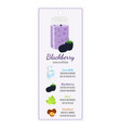 blackberry smoothie on labelrecipe of detox drink vector image vector image