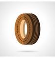 Brown wheel flat color design icon vector image