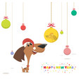 christmas card puppy looks at a christmas ball vector image