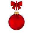 Christmas red ball with bow on a tape vector image vector image