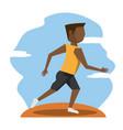 color scene with faceless brunette runner man vector image vector image