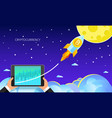 concept crypto-currency rocket flying to the vector image vector image