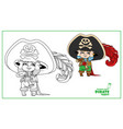 cute cartoon little boy in pirate costume color vector image vector image