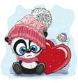 cute cartoon panda in a knitted cap vector image vector image