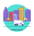 delivery services banner template in flat style vector image