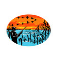 duck hunter flooded cornfield oval retro vector image