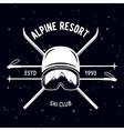emblem ski club vintage mountain winter badge vector image vector image