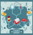 farm color isometric concept icons vector image vector image