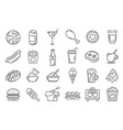 fast food line icons cafeteria snack sandwich vector image